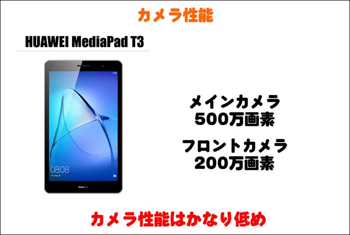HUAWEI MediaPad T3のカメラ性能