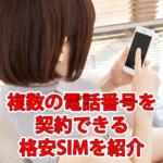 【格安SIM】複数の電話番号を契約できるのは?おすすめ紹介
