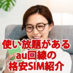 【格安SIM】使い放題があるau回線の会社を紹介